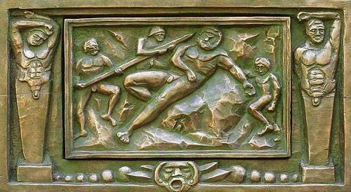 Bronze bas reliefs, opera art, mythical mathematical art